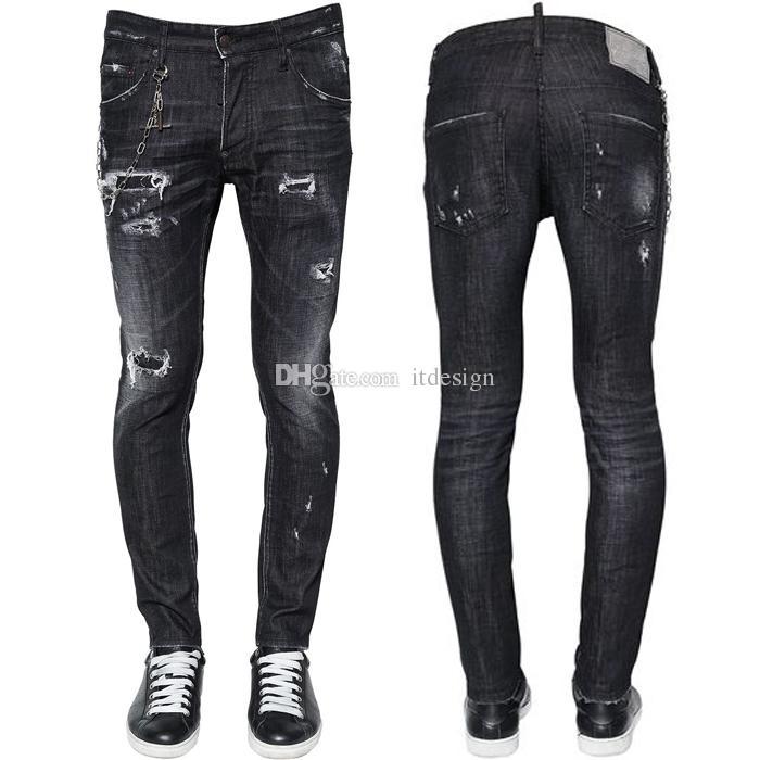 36c70854d Cool Hombres Dañados Black Jeans Skater Fit Usados Vintage Skinny Denim  (Excluir la cadena de metal)