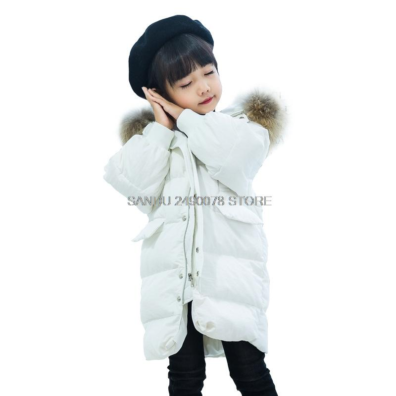 d710613f8b4b Winter White Duck Down Jacket For Girl 2018 Fashion Children Coat Kids Warm  Thick Fur Collar Hooded Long Down Parka For Teenage Winter Coats For  Teenage ...