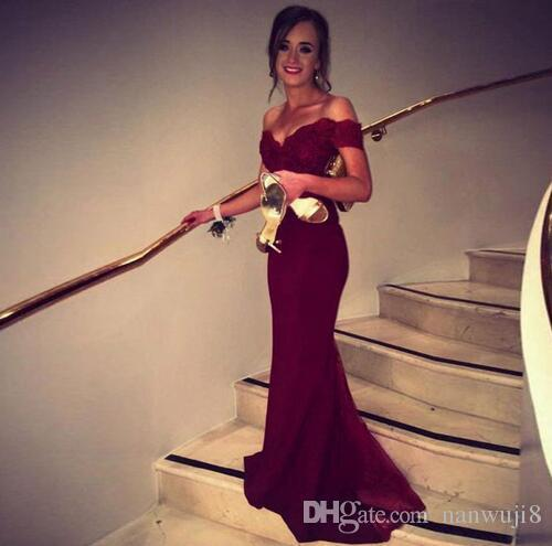 2017 New Fashion Satin ushers Dark Red Mermaid Prom Dress Cap Sleeve Boat Neck Lace Backless Evening Dresses Bridesmaid Dress C18111601