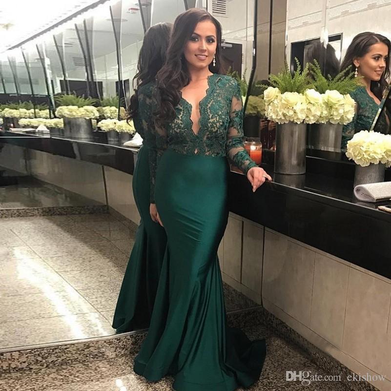 2018 Sexy Escuro Verde Profundo Decote Em V Sereia Vestido de Noite Elegante Ocasião Especial de Renda Manga Longa Festa Formal Vestidos de Baile Vestidos Festa