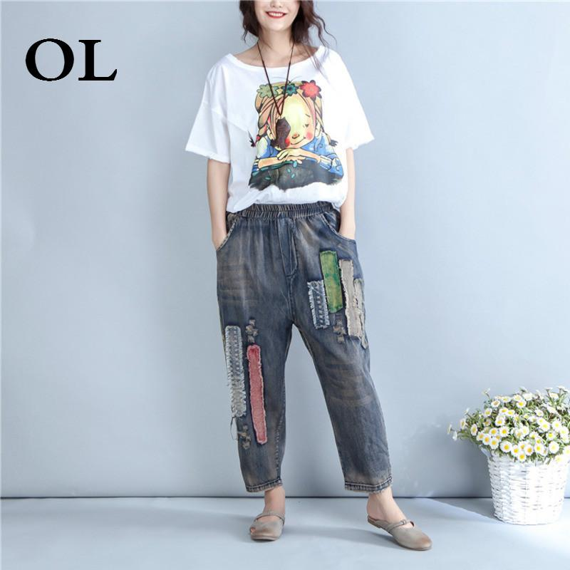 2863bdc6339 2019 OL 2018 Summer Fashion Trend Womens New Vintage Calf Length Pants  Cotton Embroidery Button Hole Loose Plus Size Jeans Pants H723 From  Odelettu, ...