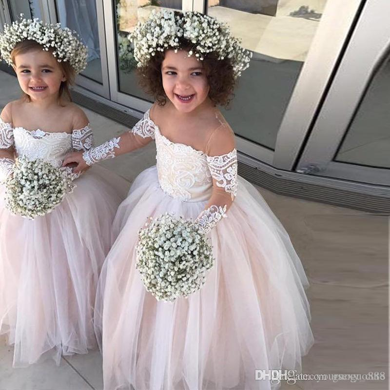 Princess Ball Gown Tulle Flower Girls Dresses Sheer Neck Long Sleeves Appliques Lace White Ivory Toddler Wedding Dresses
