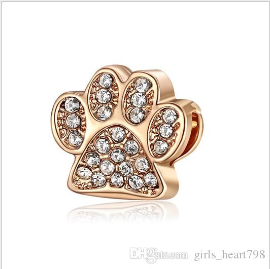 1daf5a4e2 2019 Wholesal Animal Dog Paw Print Charm For Sterling Silver Bracelet  European Charms Bead Fit Pandora Bracelets Snake Chain Fashion DIY Jewelry  From ...