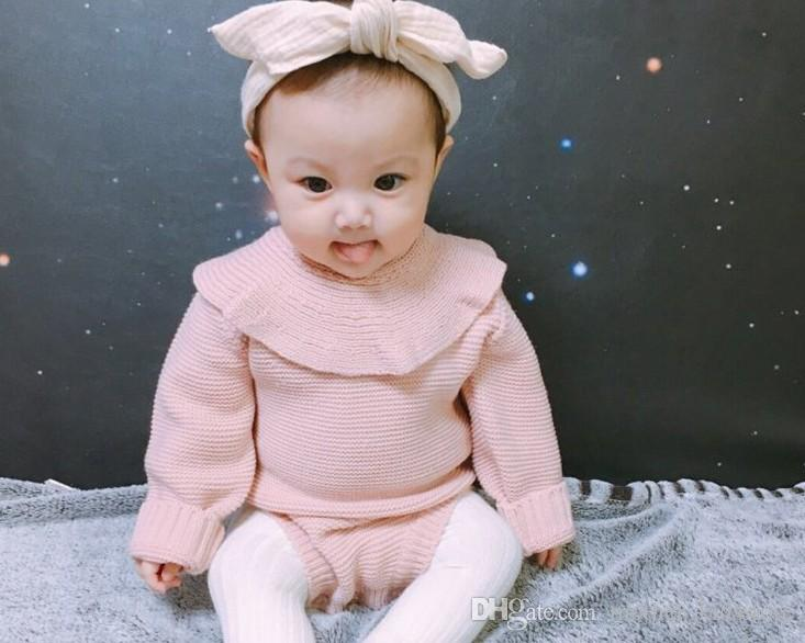 fcc98fc2cab00 Princess Newborn Baby Clothes Girls Boys Long Sleeve Jumpsuit Kids Baby  Outfits Clothes Winter Autumn Baby Girl Knitted Rompers