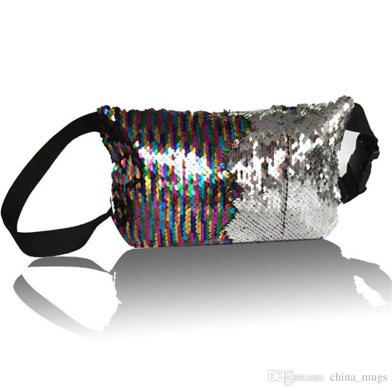 Bolso de la cintura del brillo de la sirena de las mujeres de la alta calidad de las lentejuelas de la sirena del monedero del brillo del paquete de viaje cuatro colores