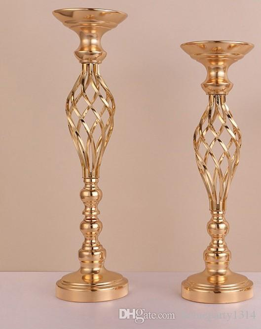 Flowers Vases Display Flower Stand Candle Holders Road Lead Table Centerpieces Metal Gold Stand Pillar Candlestick For Wedding Candelabra