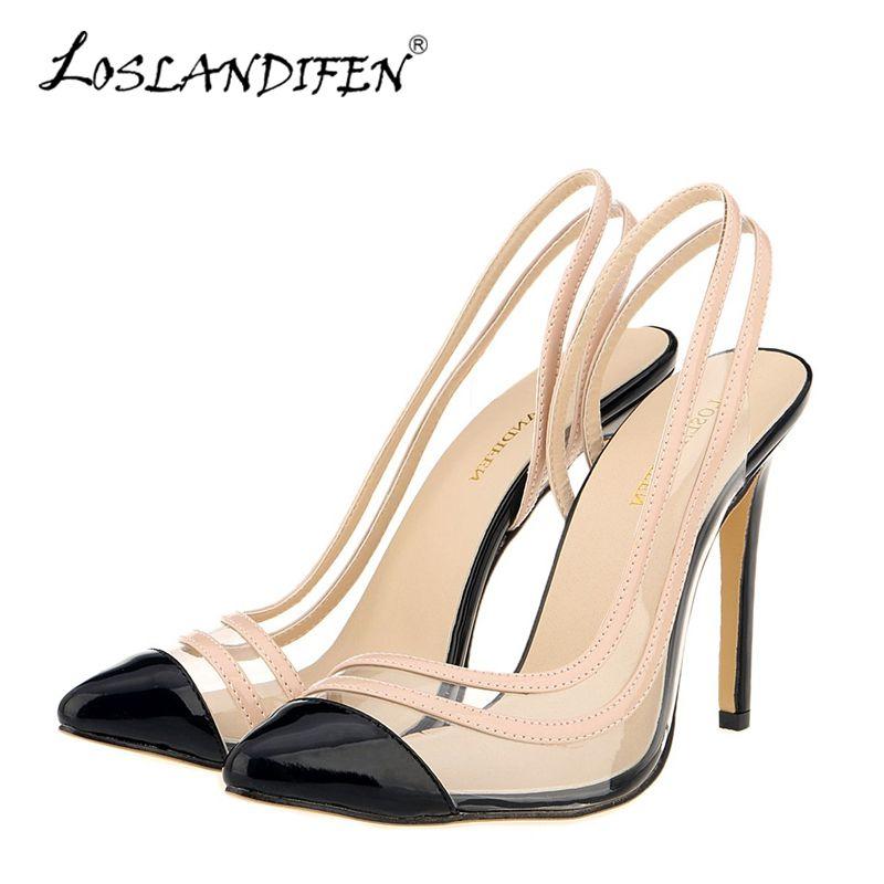 71ebb29c1 Compre LOSLANDIFEN New Slingbacks Mulheres Bombas Sexy Sapatos De Salto  Alto Dedo Apontado Stiletto Sapatos De Verão Mulher Sapatos De Festa De  Casamento ...