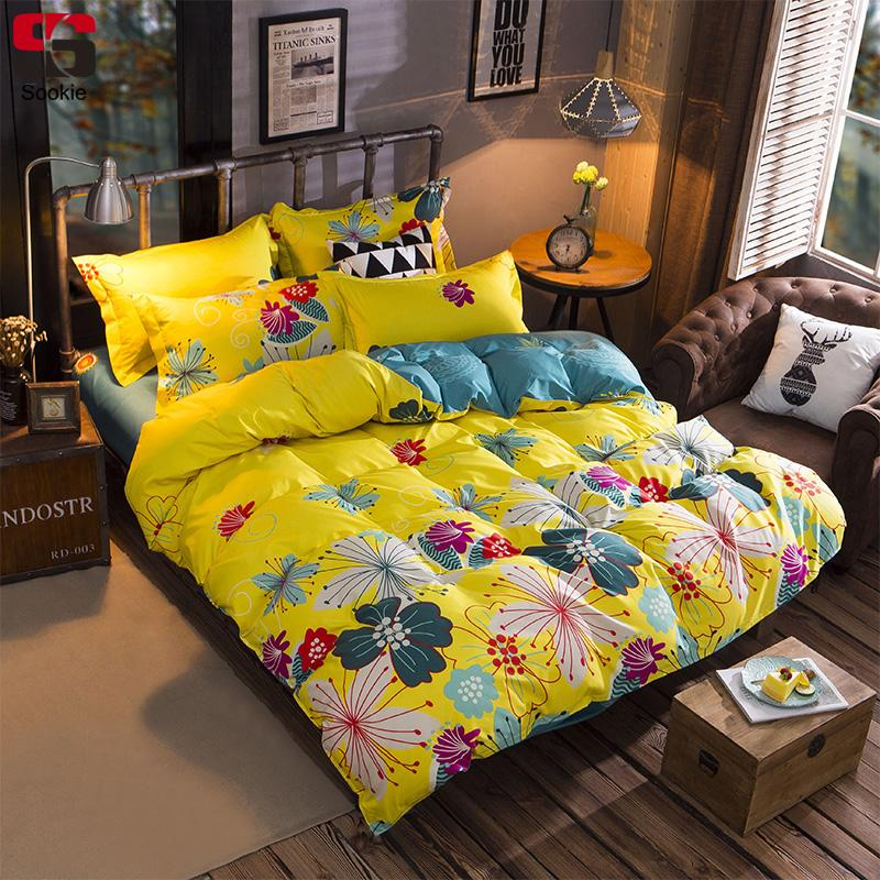 Sookie Yellow Floral Print Bedding Set Duvet Cover Sets Soft Bed