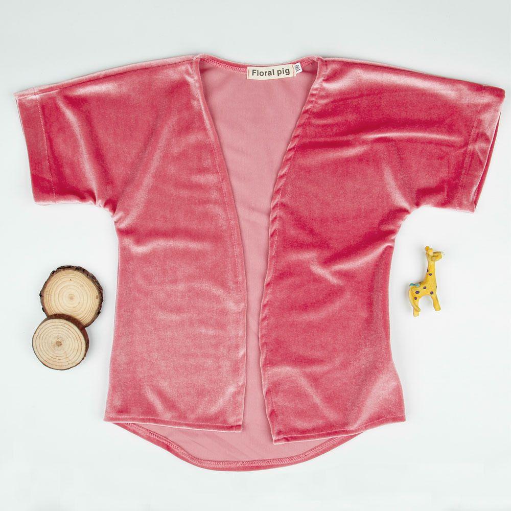 طفل الفتيات pleuche معطف قصير الأكمام الرأس 2-5T الاطفال أزياء البوليستر المخملية سترة معطف وردي فضفاض