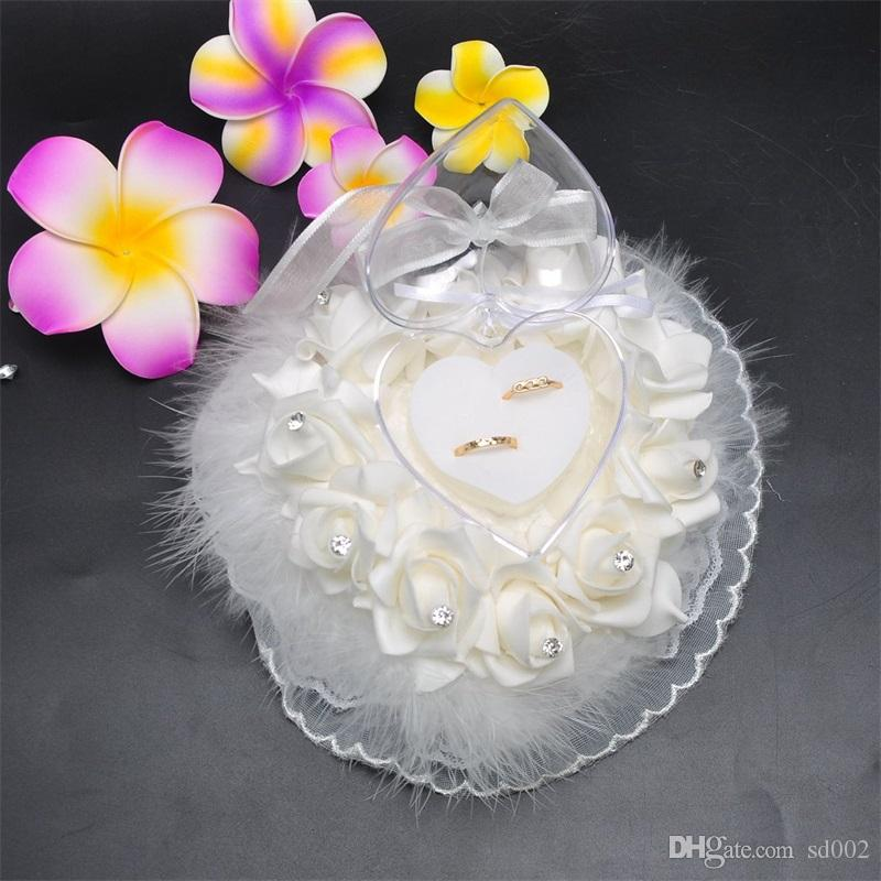 En forma de corazón Rose Flower Pillow Lace Originality Avestruz Hair Wedding Ring Caja de almacenamiento Artículos Blanco Pure Color 15 68bt bb
