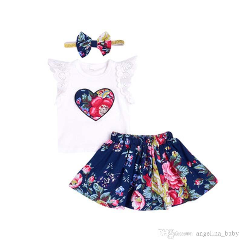 Baby Girls Sets 2018 New Children Floral Lace T shirts + Floral Skirts + Headband Sets Kids Summer Fashion Outfits Infant Clothing
