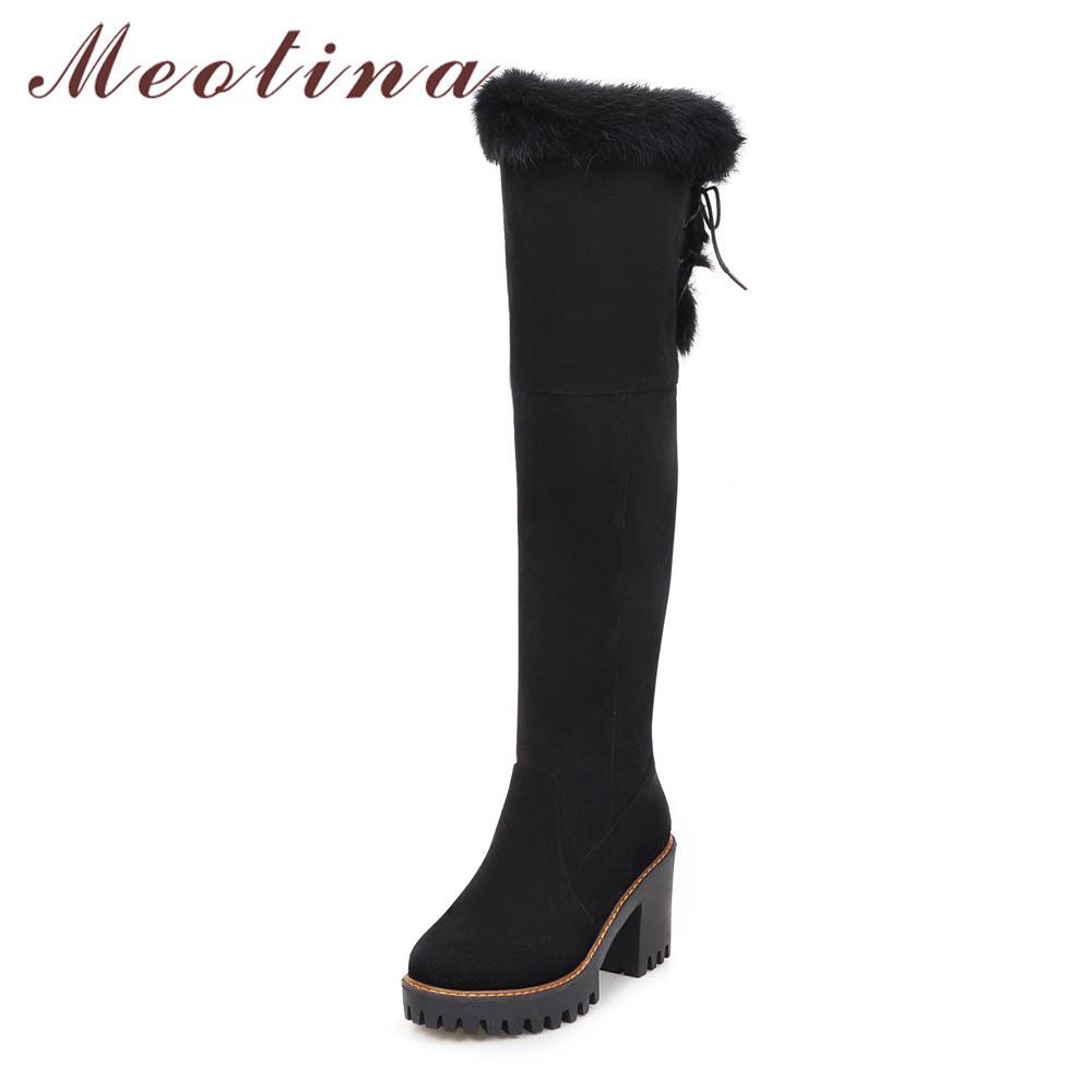 640db30ab7c62c Acheter Meotina Hiver Neige Bottes Femmes Chaussures Fourrure Extrême Talon  Haut Sur Le Genou Botte Plate Forme Épaisse Talon Long Zip Grande Taille 43  De ...