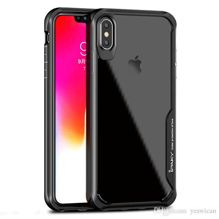 innovative design bc5b3 a8f53 iPaky Case For iPhone Xs Max XR Transparent Clear Back Cover Hard Soft  Cases With Package Stock