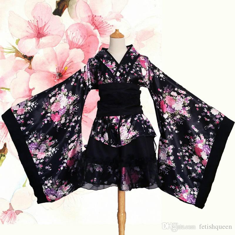 Wholesale Plus Size Floral Printing Japanese Anime Cosplay Kimono Party Costume Two Colors For Women And Girl