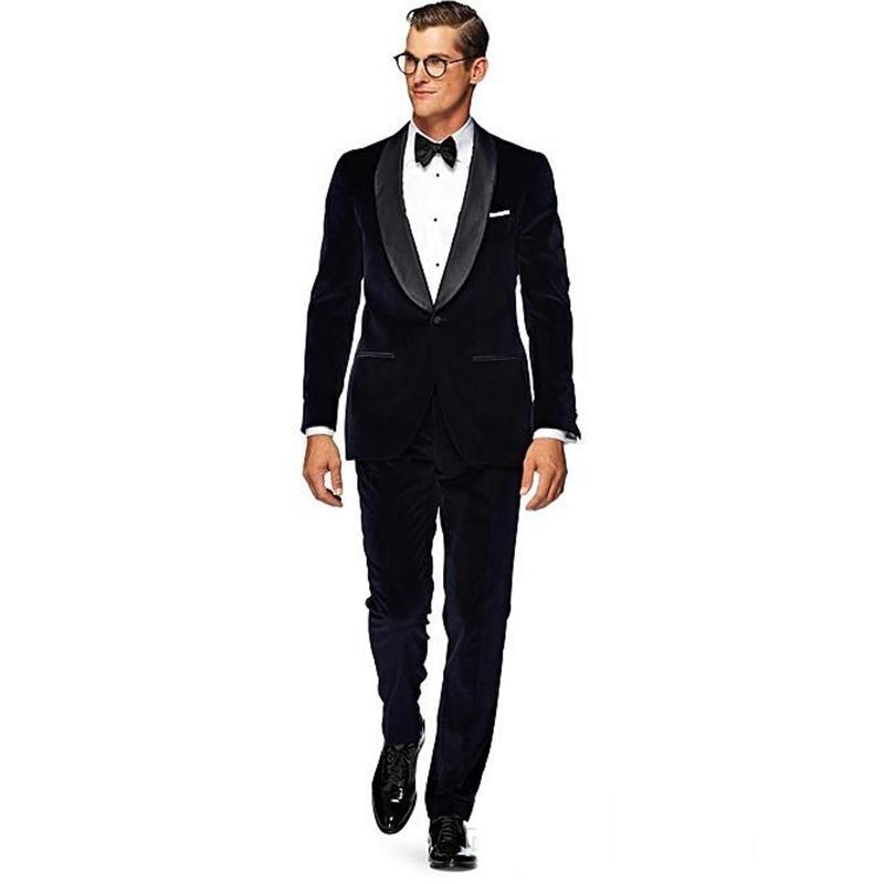 b08d834f7c48 Fashion Groom men Wear Black Velvet Tuxedos 2017 new Wedding Suits For Men  2 Peices mens Suits (Jacket+Pants+bowtie)