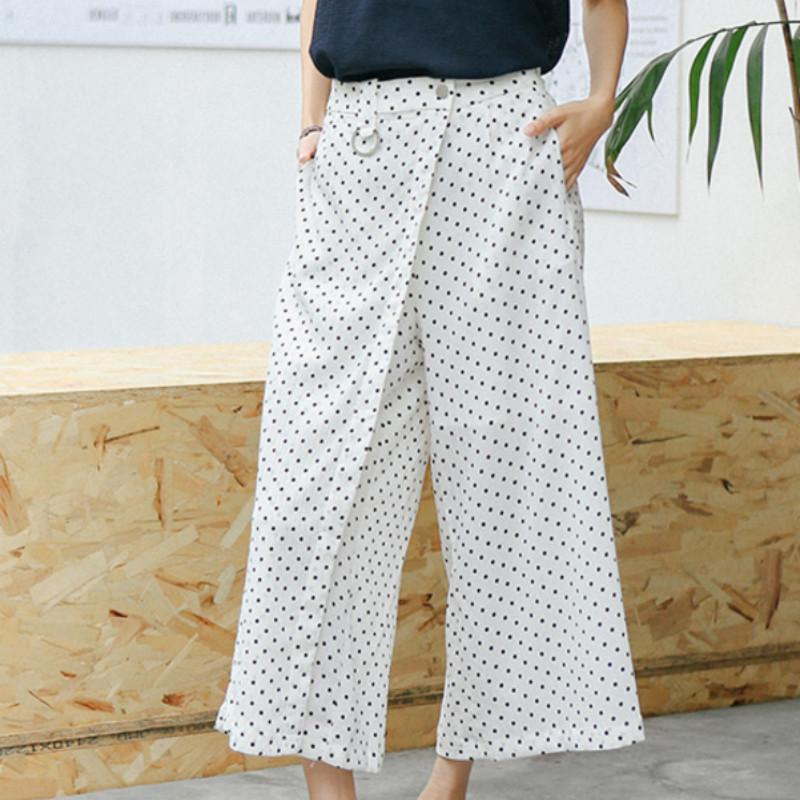 8329ea2760 2018 Summer Korean Vintage Polka Dot Wide Leg Pants High Waist Palazzo Pants  White Loose Trousers Online with $44.68/Piece on Mobile02's Store |  DHgate.com