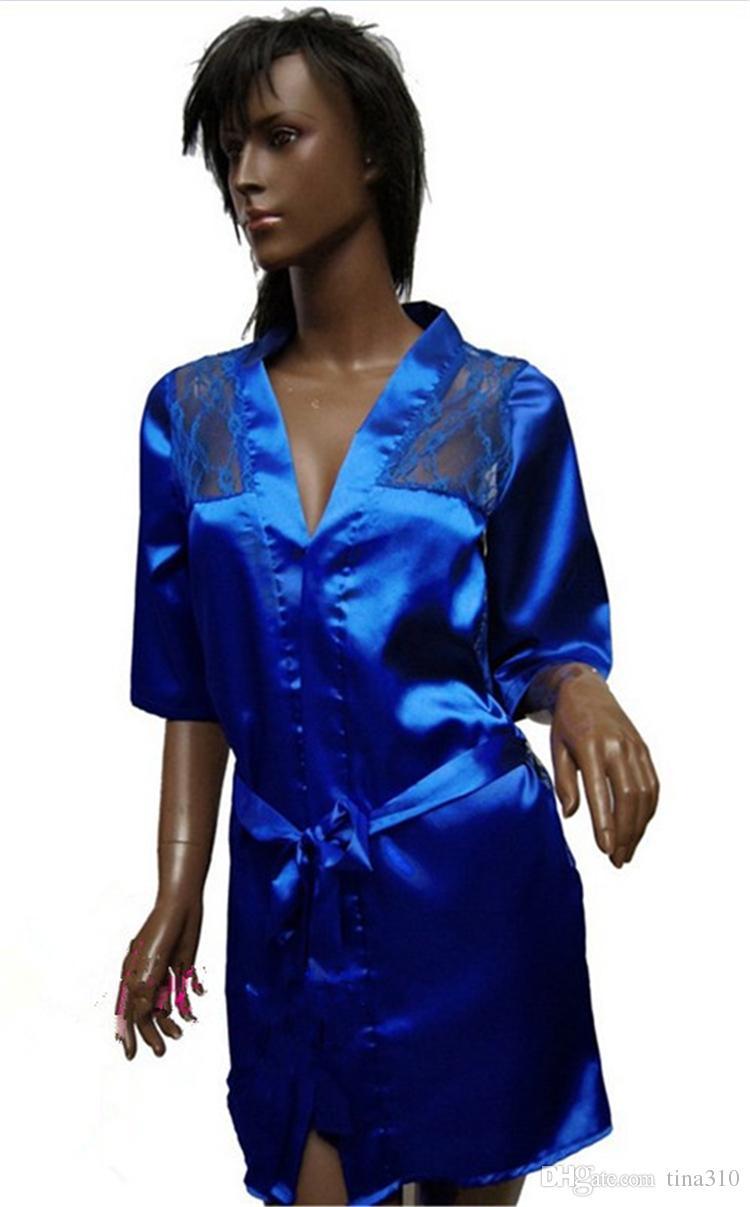 5 couleurs dentelle femmes peignoir Kimono avec G-string Ceinture Sexy Lingerie de nuit Robe Pyjama Robe de chambre T2I241