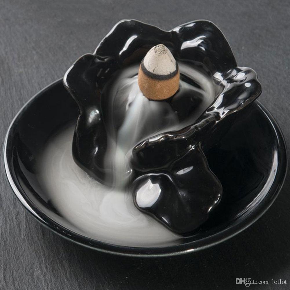 Rückfluss Buddha Keramik Räuchergefäß Halter Buddhist Sandelholz Kegel Dekoration Handwerk Figuren Miniaturen E5M1