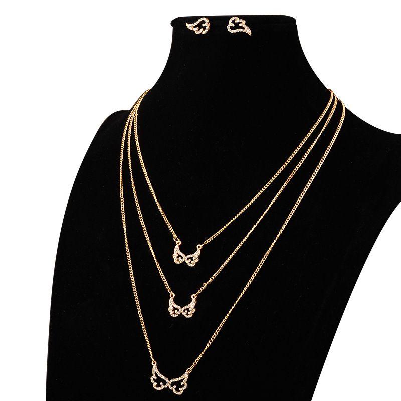 bad18f4234797 wing pendent jewelry set canada three layer chain zinc casting rhinestone  jewellery set design fashion western street style