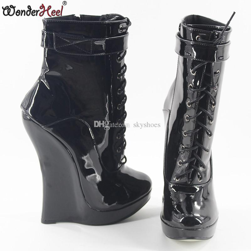 33e6bc00edf Wonderheel Hot Patent Leather Extreme High Heel 18cm Wedges Heel With 3cm  Platform Wedge Ankle Boots Short Boots Women Sexy Boot Brown Boots Winter  Boots ...