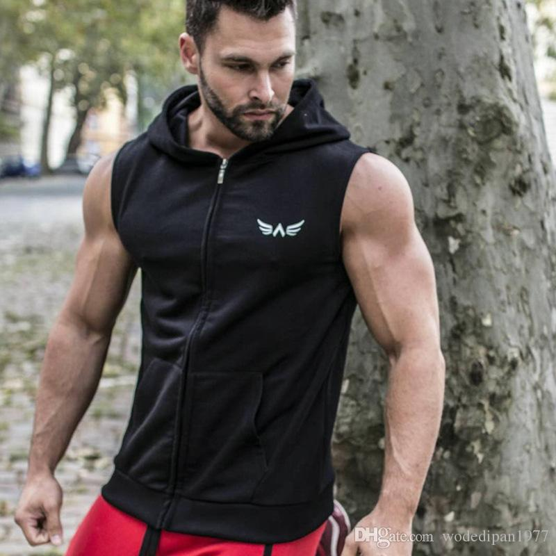 e8d921328153b7 2019 Mens Loose Muscle Fitness Hooded Tank Tops For Men Zipper Cardigan  Casual Bodybuilding Workout Sleeveless T Shirts Vests From Welcometoshop