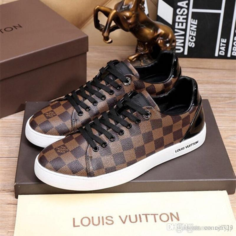 17b5318e7dc9 18ss Fashion Men S Casual Shoes Real Leather High Top Sneakers Students Running  Shoe Printing Luxury Dress Shoes Brand Male Shoes Size Nude Shoes  Orthopedic ...
