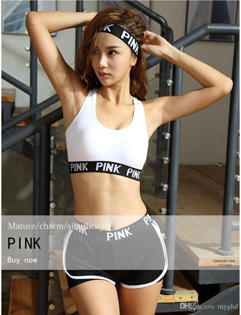 05a52e69b187d 2019 PINK Tracksuit Girl Summer Sport Wear Cotton Yoga Suit Fitness Bra  Shorts Gym Top Vest Pants Running Underwear Sets Runner Outfits From Myghd