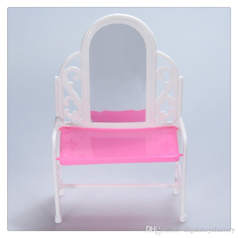 Wholesale Yiding Fashion Dressing Table And Chair Set For Barbies Dolls  Bedroom Furniture Pink Color Very Cute Hot Sale Cheap Wooden Doll Houses  Little ...