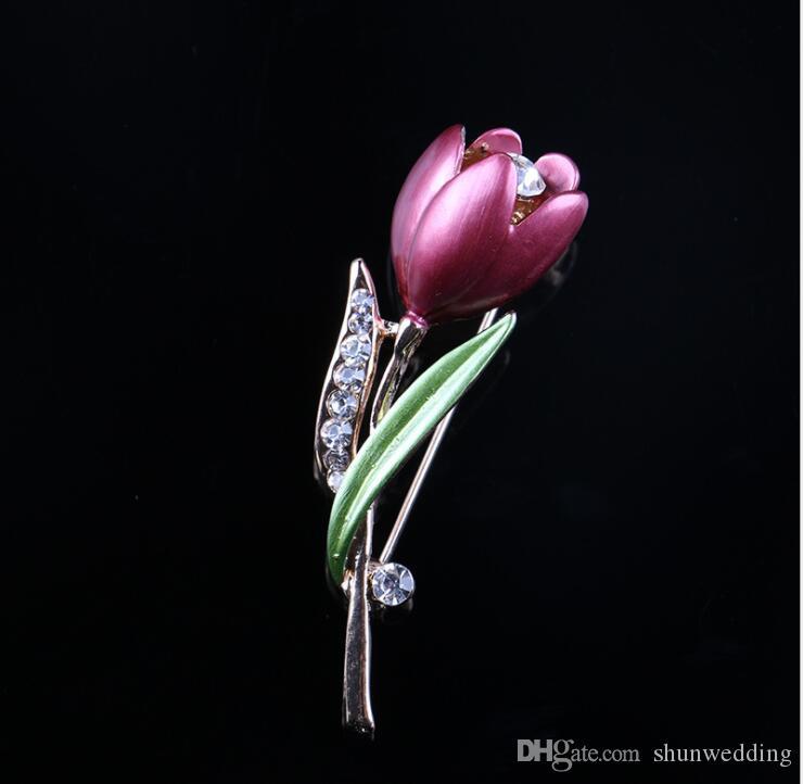 Элегантный Тюльпан Цветок Брошь Контактный Кристалл Бижутерия Одежда Аксессуары Ювелирные Изделия Броши Для Свадьбы