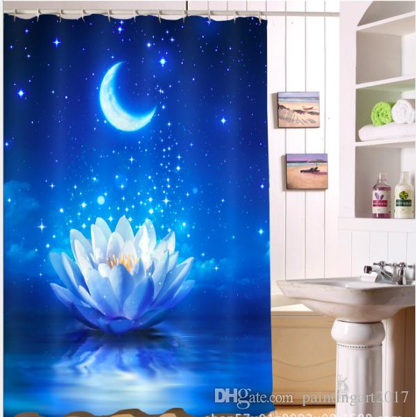 2019 3D Moonlight Lotus Print Shower Curtain Art For Bathroom Waterproof And Fabric Romantic Curtains Floor Mats Sets From Paintingart2017