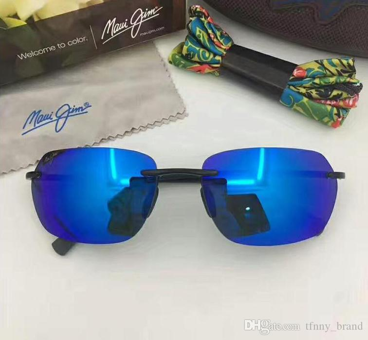 a3fcb1c85e MauiJim743 Luxury Brand Design Rimless Lens New Popular Sunglasses Men  Women Polarized Sun Glasses Driving Super Light Eyewear With Case Sunglasses  Online ...