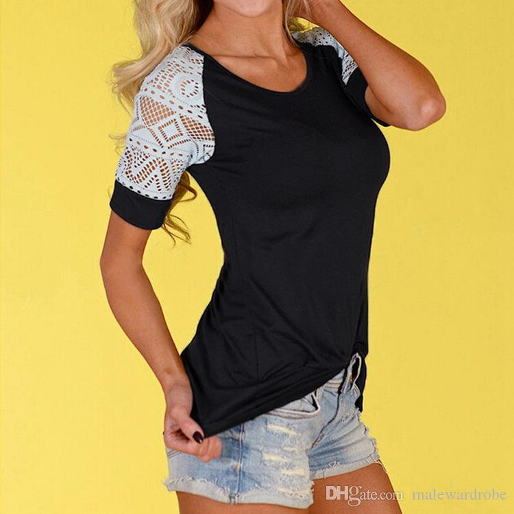 Women Lace Sleeves Design T shirts Summer Colors Patchwork Slim Fit Lace Trim Tees Short Sleeves Casual Clothing Tops