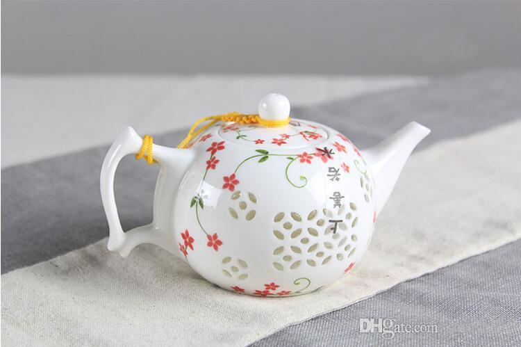 big promotion jingdezhen porcelain exquisite teapot hollow chinese tea ceremony modern art flower tea pot T256