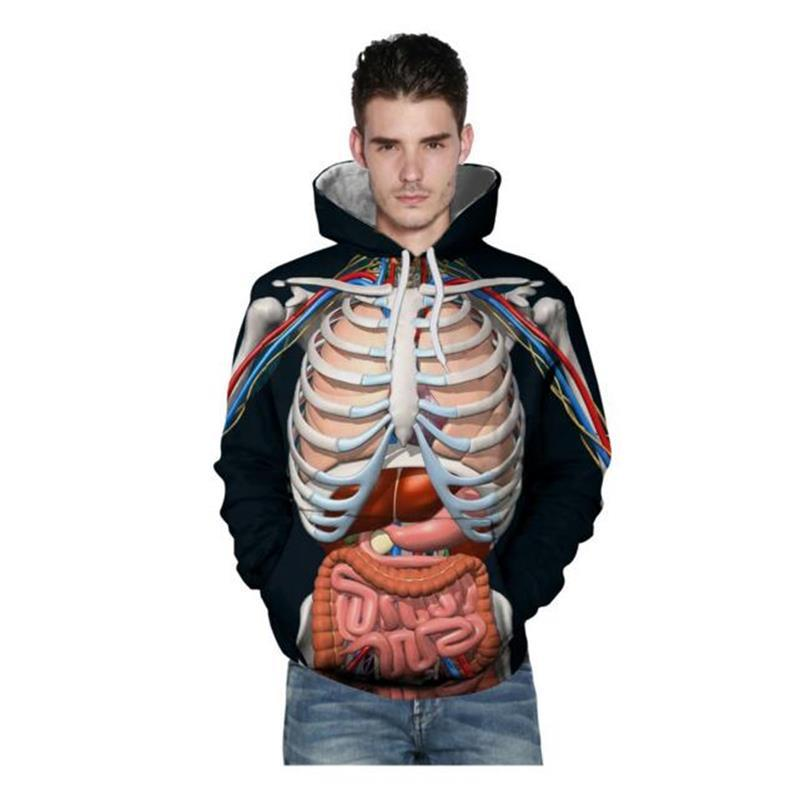 2018 Fashion 3d Human Anatomy Hoodie Hoodies Sweatshirts Men
