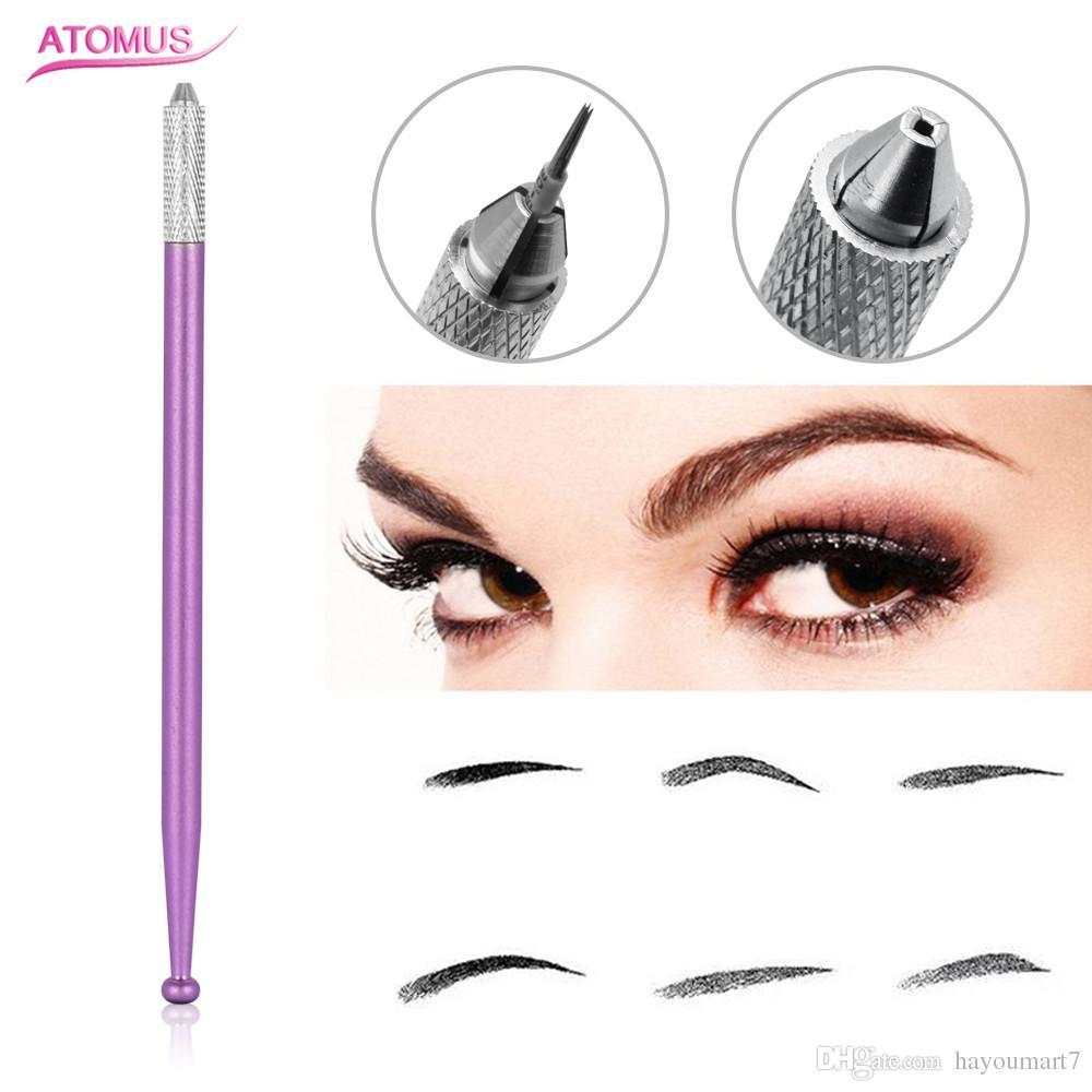 Purple Manual Tattoo Non-slip Eyebrow Cross Pen Single Head Cosmetic ...