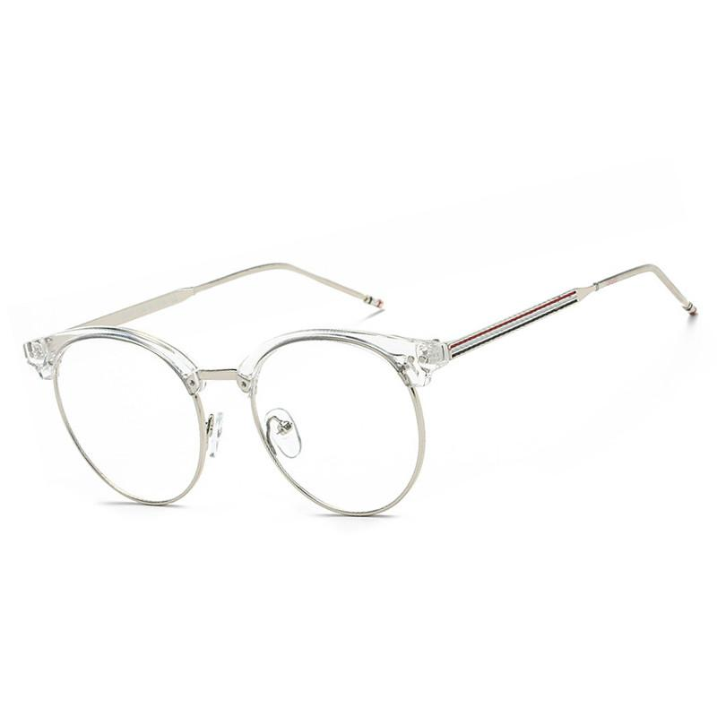 Clear Glasses Frame Alloy Striped Computer Glasses Fake Clear Lens ...