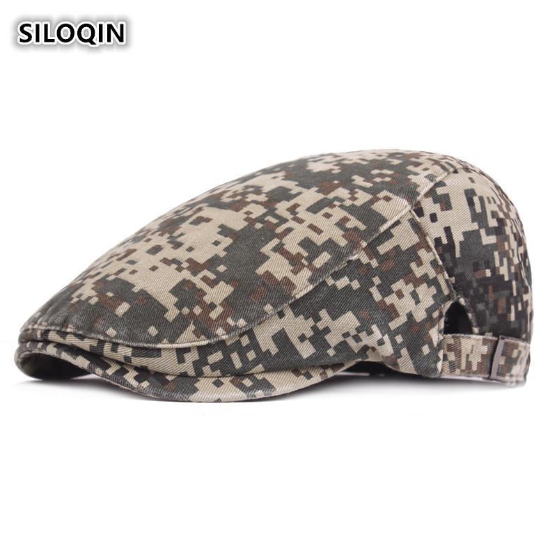 76de90027fa 2019 SILOQIN Adjustable Head Size Men s Camouflage Cap Jungle Travel  Camping Cotton Beret For Men Brands Sun Visor Hat From Wutiamou