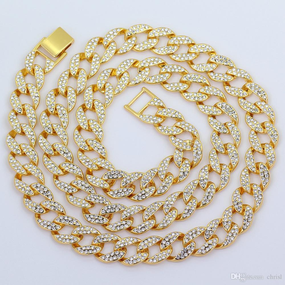Full Diamond Cuban Colar de 18 polegadas 20 polegadas 24 polegadas 30 polegadas Colar de Jóias de Bling para Os Homens Congelados Para Fora Miami Curb Cadeia de Ligação Cuban