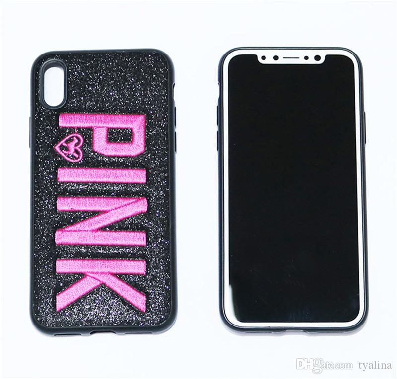 Fashion Design Glitter 3D Embroidery Love Pink Phone Case For iPhone X, iPhone 8, 7, 6 Plus for Samsung S9 S9 plus 9+