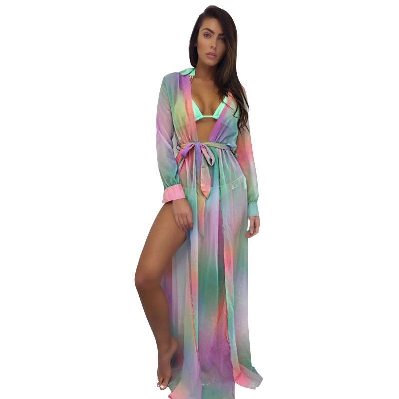 4f5efb8fc5c 2019 Sexy Women Chiffon Swimsuit Bikini Cover Leopard Contrast Color Split  Cardigan Kimono Beach Maxi Coverups Green Orange White From Stephanie12