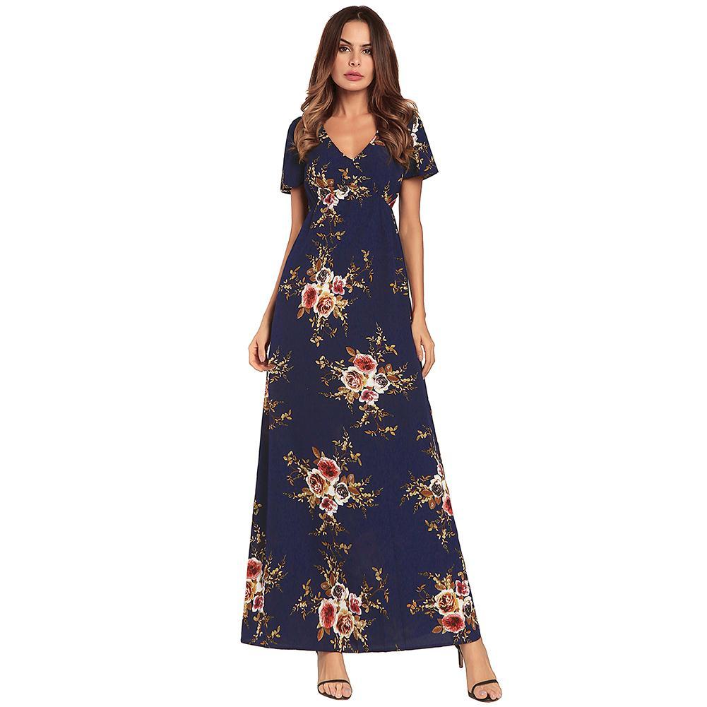 f2f1e92bc366 Elegant Women Chiffon Maxi Dress Vintage Floral Print Deep V Short Sleeve  Tunic Dress Slim Holiday Long Dress 2019 Burgundy Blue Pink Cocktail Dresses  Dress ...