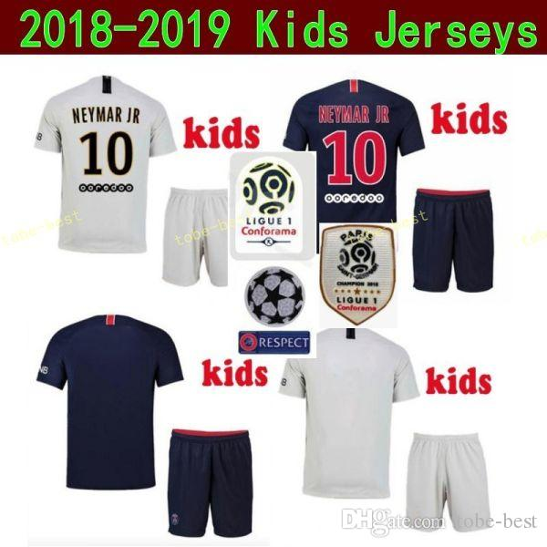 47394d2408e 2019 Youth 2019 Ligue 1 Soccer Paris Saint Germain DI MARIA Jersey PSG Kids MBAPPE  CAVANI SILVA Football Kits Children Team Blue Custom Name From Tobe Best,  ...