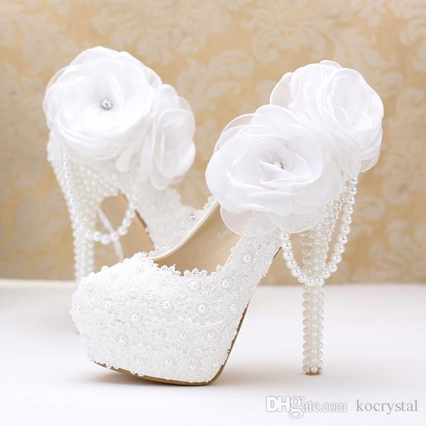 Wedding Dress Shoes.Funky White Lace Up Flower Girls Shoes Pearls Wedding Dress Shoes For Women Super High Heels Bridal Shoes