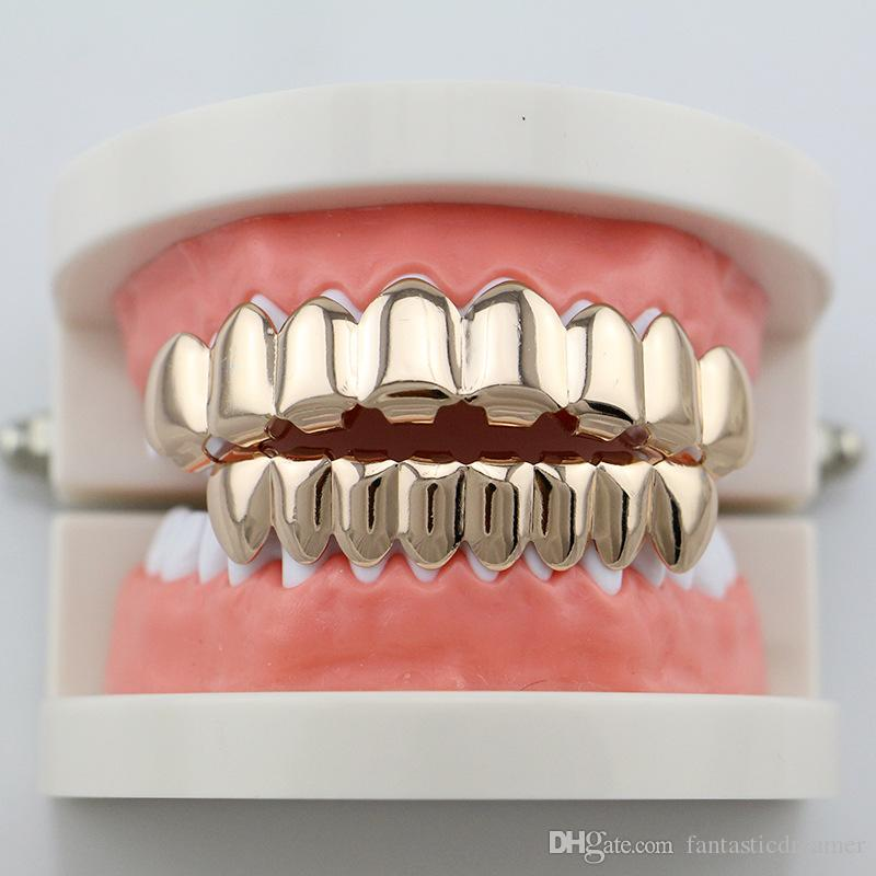Plain Teeth Grillz Gold Rose Gold Silver Color 6 Top and Bottom Teeth Grills Set Metal Fake Tooth Jewelry Teeth Hip Hop Grills