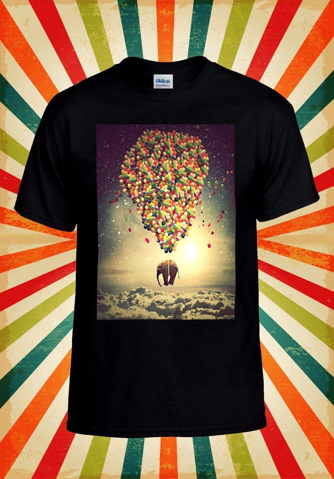 97a2025f93edc6 Balloon Elephant Sky Animal Cute Cool Men Women Vest Tank Top Unisex T Shirt  843 Top Tee 100% Cotton Humor Men Crewneck Tee Shirts Tourist Shirt Fun Tee  ...