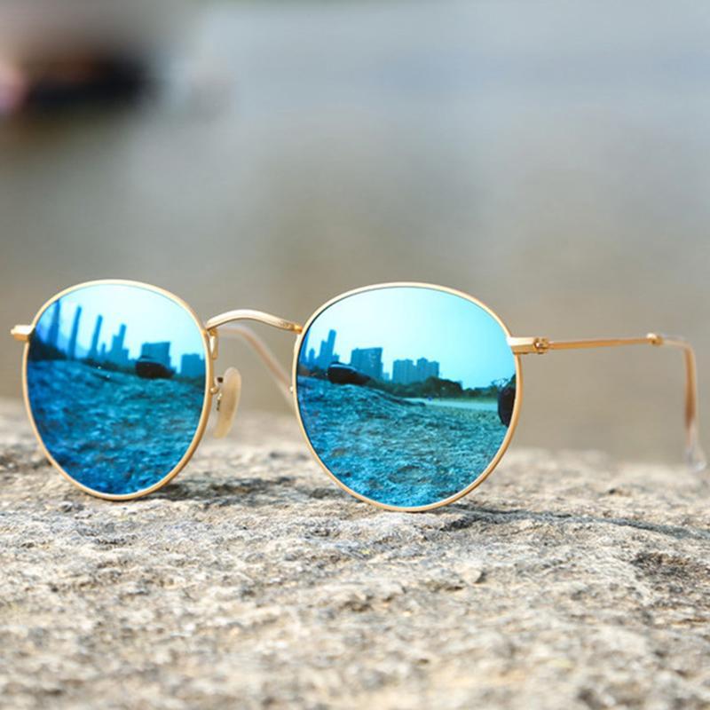0f2b8c02a8 Compre Gafas De Sol Redondas De Lujo Mujeres Diseñador De La Marca Gafas De Sol  Retro Gafas De Sol De Conducción Para Hombres Mujer Vintage Espejo 3447 A  ...