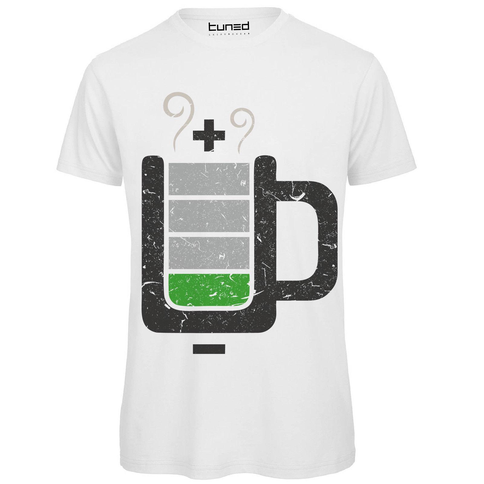 diversamente 72d80 95255 T-shirt Divertente Uomo Maglietta Cotone Con Stampa Ironica Nerd Cup  Battery Mens T Shirts Fashion 2018 Light