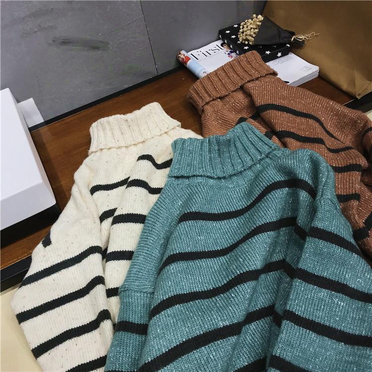e682006788be9e Winter Brown Jumper Women Stripe High Neck Side Split Knit Sweater Knitting  Warm Beige Green Pullover Feminine Casual Tops UK 2019 From Modleline