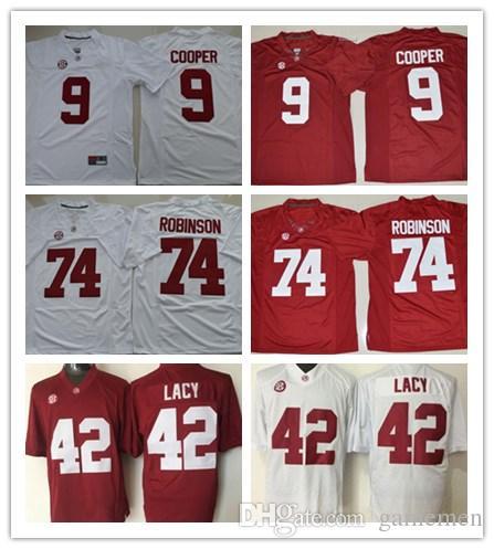 2019 Men S Alabama Crimson Tide  9 Amari Cooper 42 Eddie Lacy 74 Cam  Robinson College Football White Red Stitched Jersey Sec Patch From Gamemen 712c8a6f3