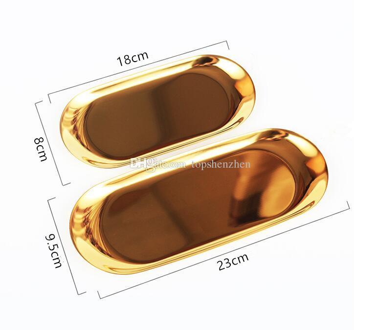 23 * 9.5cm nordique chic en métal en acier inoxydable plateau de rangement en laiton stockage ovale / plateau à thé or / argent / dégradé de couleur décoration du produit populaire